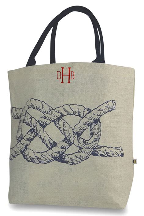 personalized jute tote bag  styles rope lobster whale