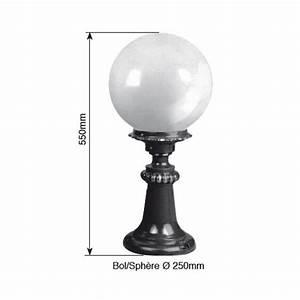 Luminaire Sur Pied : luminaire ext rieur boule sur pied 55cm noir achat ~ Nature-et-papiers.com Idées de Décoration