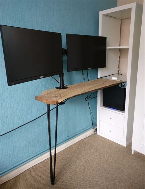 ikea custom desk kallax shelving unit white hairpin leg solid wood tabletop in calcot