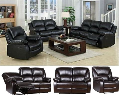 Settee Suites by New Luxury Valencia Bonded Leather Recliner Sofa Suite