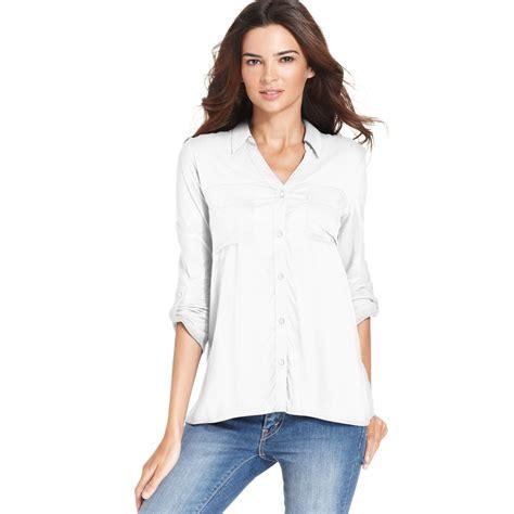 klein blouses lyst calvin klein sleeve blouse in white