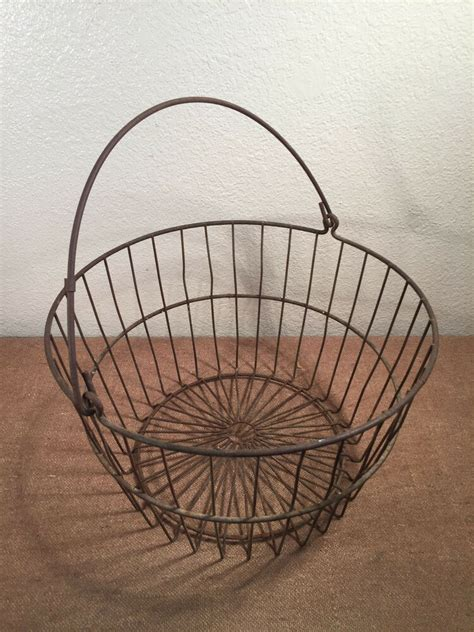 metal harvest egg basket apples garden orchard