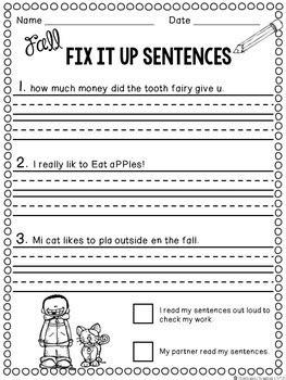 fall editing sentences  grade capitalization