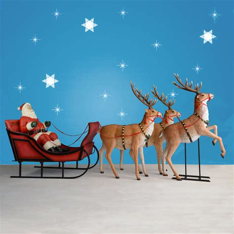 rooftop santa and sleigh 170 quot wide santa sleigh three reindeer set