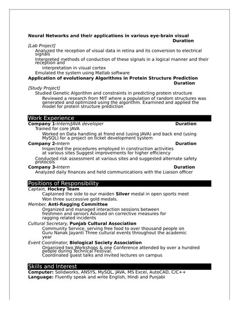 32 resume templates for freshers free word format
