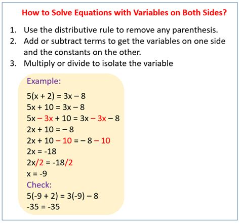 solving equations with variables on both sides solutions exles lessons videos