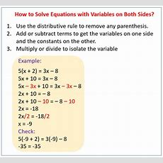 Solving Equations With Variables On Both Sides (solutions, Examples, Lessons, Videos