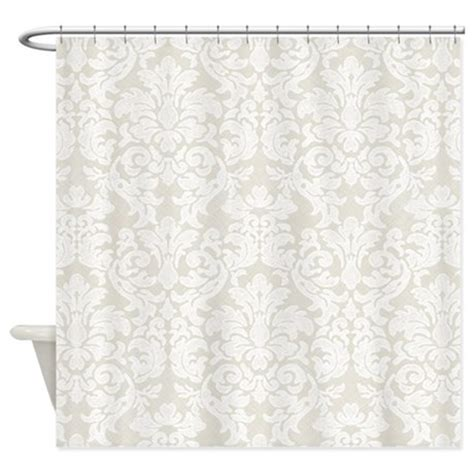 lace pattern white beige shower curtain by marshenterprises