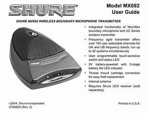 Shure Mx692 User Manual