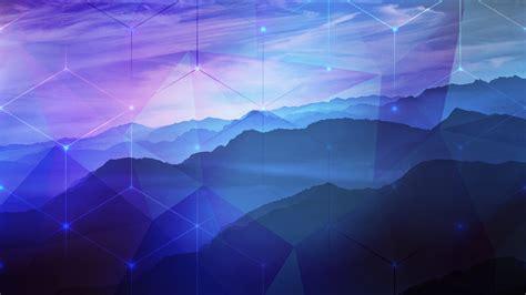 blue purple mountains hexagon photoshop  peaceful