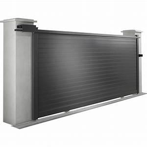 Leroy Merlin Portail : portail coulissant aluminium concarneau noir naterial l ~ Nature-et-papiers.com Idées de Décoration
