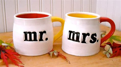 Hand Made Ceramic Pottery Mr. And Mrs. Wedding Coffee Mugs   2 Piece Couples Cup Set by Love Art