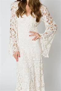 bell sleeve lace maxi dress bohemian wedding dresses With bell sleeve wedding dress