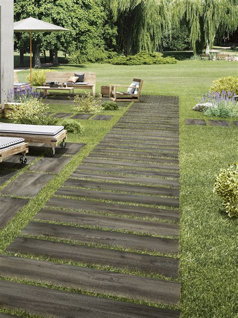 grey wood effect outdoor porcelain paving wood planks