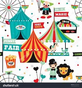 Seamless Kids Circus Fun Fair Illustration Fabric ...
