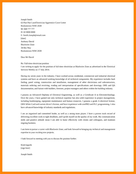 Apprentice Electrician Cover Letter Sle by 5 6 Electricians Cover Letter Artresumes