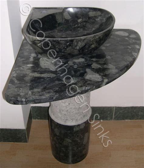 corner vanity pedestal granite vessel sink set