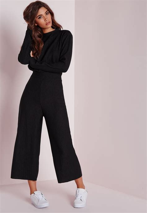 missguided long sleeve ribbed culotte jumpsuit black