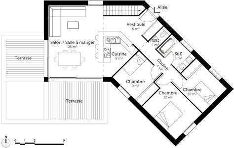 plan chambre salle de bain plan maison 100 m en v de plain pied ooreka