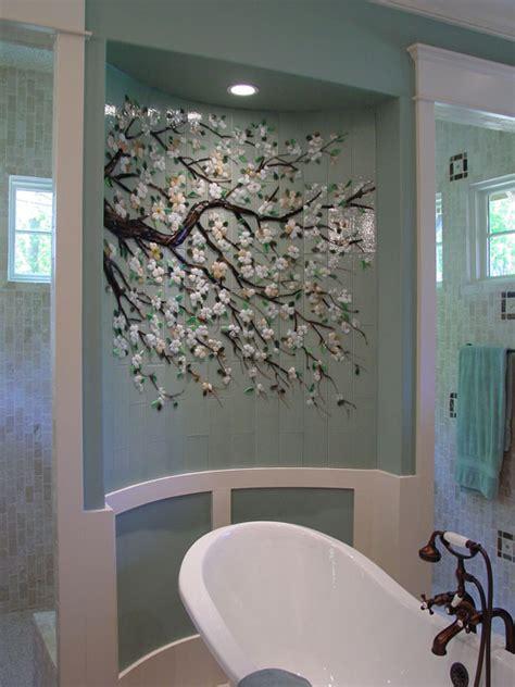 dogwood branch mural  fused glass tiles