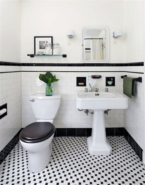 retro black white bathroom floor tile ideas  pictures