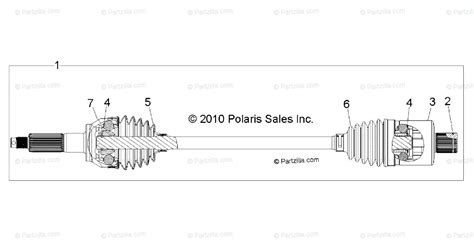 polaris side by side 2011 oem parts diagram for drive rear drive shaft all options