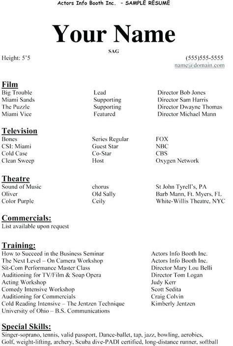 Acting Resume Sle by 4 5 Acting Resume Exle Resumename
