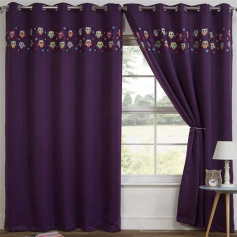 thermal blackout curtains owl purple tony s