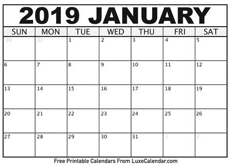 Blank January 2019 Printable Calendar