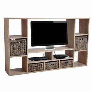 Meuble Tv Living : meuble tv en bois massif avec de nombreuses niches au prix ~ Teatrodelosmanantiales.com Idées de Décoration