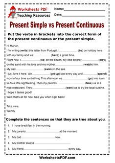 present continuous worksheet images present