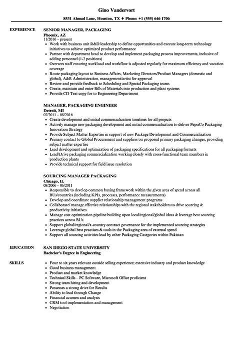Resume For Packaging by Manager Packaging Resume Sles Velvet