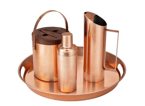 copper barware you d swear this copper coated stainless steel barware set