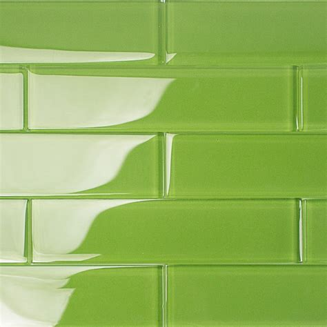 green glass tile shop for loft electric lime 2x8 polished glass tiles at