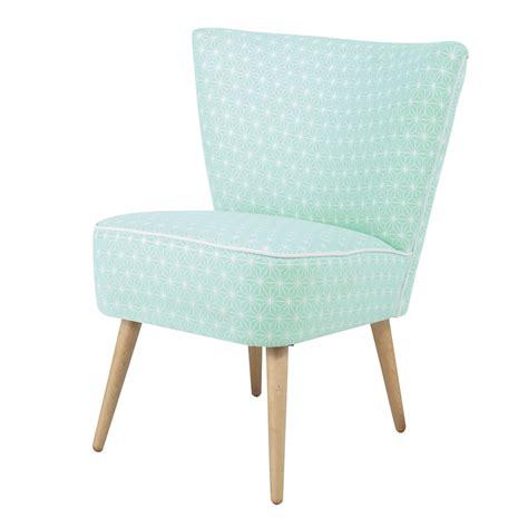 fauteuil vintage  motifs en coton vert deau scandinave maisons du monde