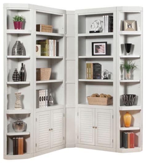 Contemporary Corner Bookcase by Boca 5 Corner Bookcase Cottage White Finish
