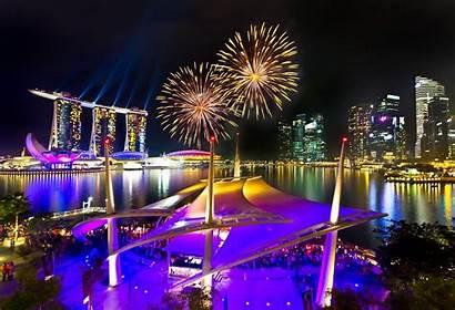Singapore Marina Bay Sands Night Fireworks Wallpapers