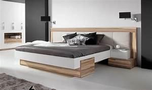 Bois De Lit : lit bois design adulte 2 places avec tte de lit large capitonne ~ Teatrodelosmanantiales.com Idées de Décoration