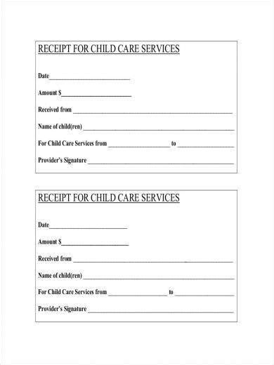 daycare receipt samples  templates  word