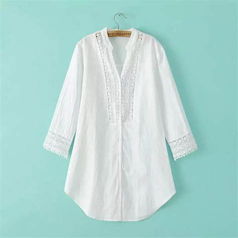 lace bordir gaya eropa bordir kemeja putih wanita blus 3 kuartal