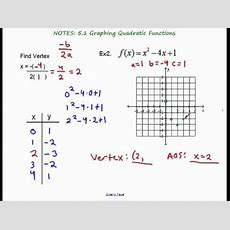 Algebra 2  Section 51 Graphing Quadratic Functions Youtube