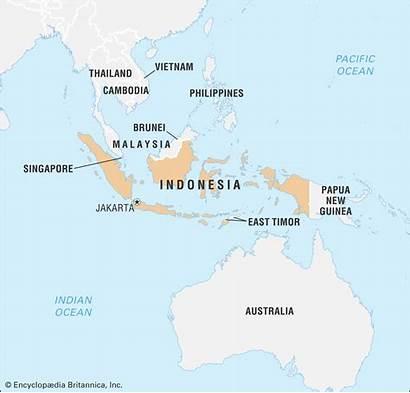Indonesia Map Australia Sea Britannica Locator Country