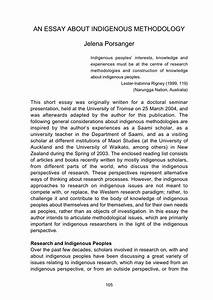 Pdf  An Essay About Indigenous Methodology