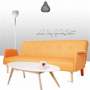 Canape convertible scandinave orange for Canapé convertible scandinave pour noël coach deco interieur