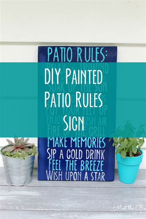 diy patio rules wooden sign  inspired hive
