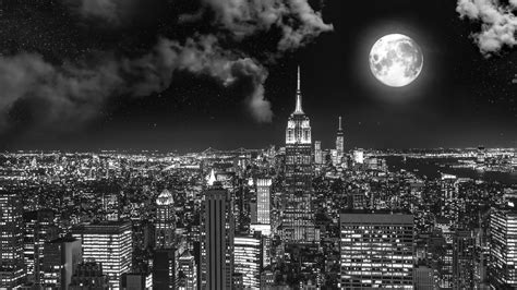 night city bw full moon  hd wallpapers hd wallpapers id