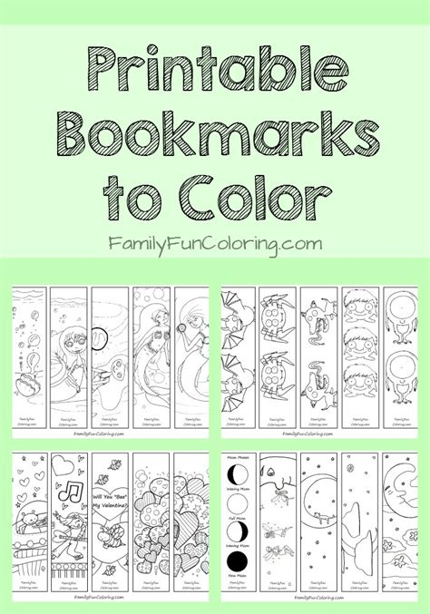 Printable Bookmarks To Color Familyfuncoloring
