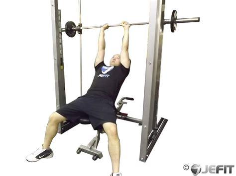 Front Shoulder Pain Bench Press by Smith Machine Close Grip Shoulder Press Exercise
