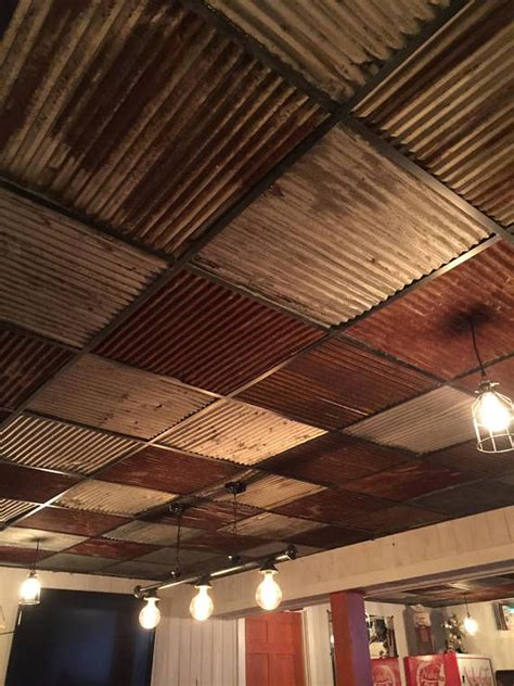 pieces  reclaimed metal roofing drop ceiling