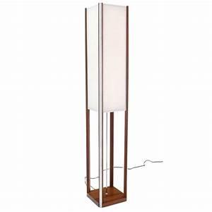 Walnut square tower shape mid century modern floor lamp for Modern tower floor lamp